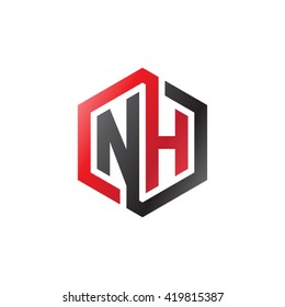 NH initial letters looping linked hexagon logo black red