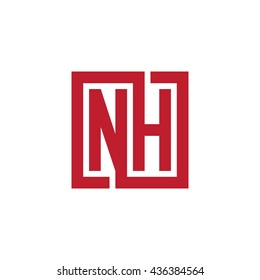 NH initial letters looping linked square logo red