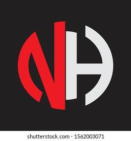 NH Initial Logo design Monogram Isolated on black background