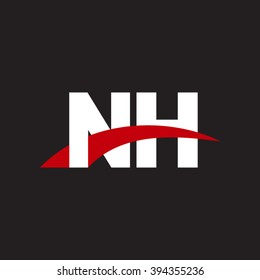 NH initial overlapping swoosh letter logo white red black background