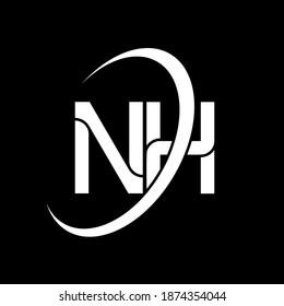 NH logo. N H design. White NH letter. NH N H letter logo design. Initial letter NH linked circle uppercase monogram logo.
