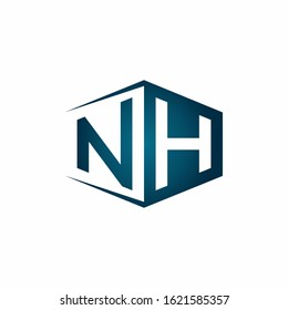 NH monogram logo with hexagon shape and negative space style ribbon design template
