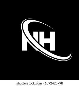 NH N H letter logo design. Initial letter NH linked circle uppercase monogram logo red and blue. NH logo, N H design. nh, n h