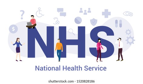 nhs national health service concept with big word or text and team people with modern flat style - vector