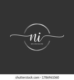 NI Initial handwriting logo vector