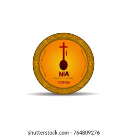 Nia - purpose symbols of kwanzaa event. Gold and etnic designs.