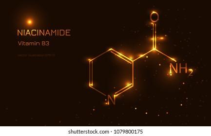 Niacinamide molecula concept. Vitamin B3 vector illustration. Gold lines style.