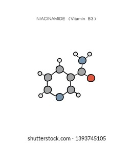 Niacinamide (vitamin B3)   hand drawing. - Vector