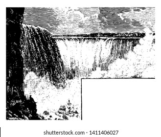 Niagara falls in the international border of canadian province and American state of New York vintage line drawing.