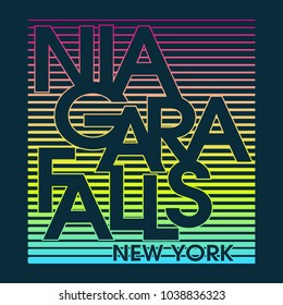 Niagara Falls New York Typography Design for tee shirt and apparel Vector graphic