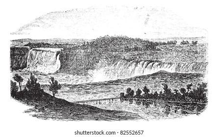 Niagara Falls in Ontario, Canada and New York, USA, vintage engraved illustration. Trousset encyclopedia (1886 - 1891).