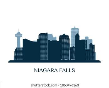 Niagara Falls skyline, monochrome silhouette. Vector illustration.