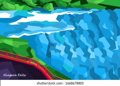 niagara falls, waterfalls in north America style in pop art portrait