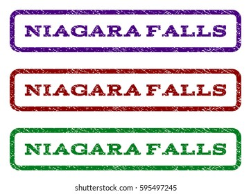 Niagara Falls watermark stamp. Text tag inside rounded rectangle frame with grunge design style. Vector variants are indigo blue, red, green ink colors. Rubber seal stamp with scratched texture.
