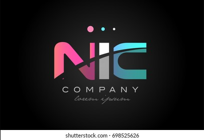 NIC n i c three 3 letter logo combination alphabet vector creative company icon design template modern  pink blue white grey