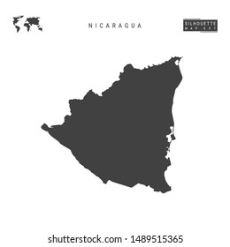 Nicaragua Blank Vector Map Isolated on White Background. High-Detailed Black Silhouette Map of Nicaragua.