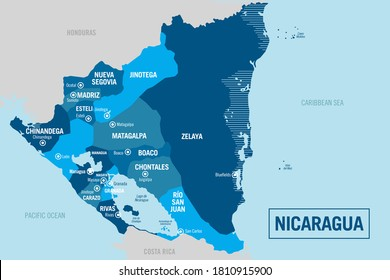 Nicaragua country political map. Detailed illustration with isolated regions, departments, provinces, states and cities easy to ungroup. Vector illustration.