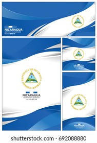 Nicaragua flag abstract colors background. Collection banner design. brochure vector illustration.