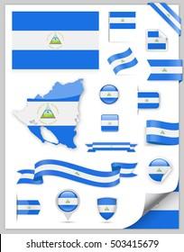 Nicaragua Flag Set - Vector Collection