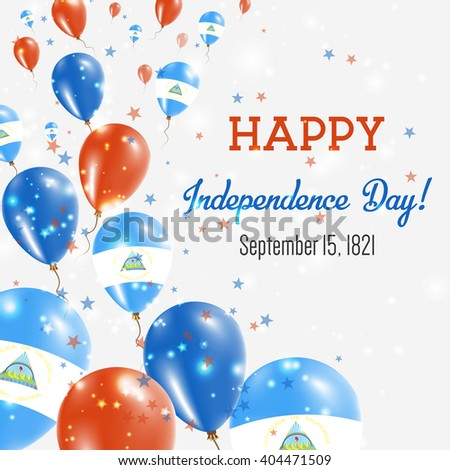 nicaragua independence day greeting card flying stock vector