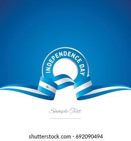 Nicaragua Independence Day ribbon logo icon