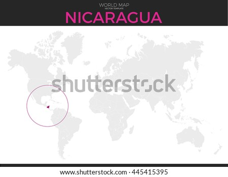 Nicaragua Location On World Map.Nicaragua Location Modern Detailed Vector Map Stock Vector Royalty