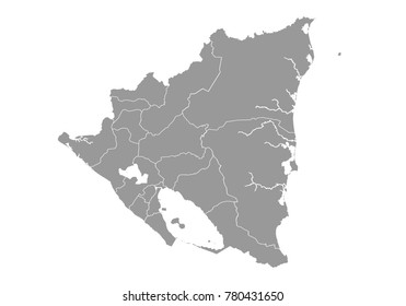 nicaragua map. High detailed map of nicaragua on white background. Vector illustration eps 10.