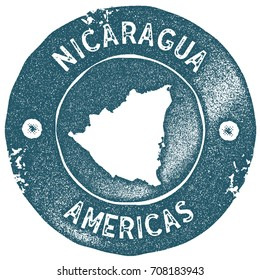 Nicaragua map vintage stamp. Retro style handmade label. Nicaragua badge or element for travel souvenirs. Rubber stamp with country map silhouette. Vector illustration.