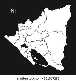 Nicaragua regions Map black illustration