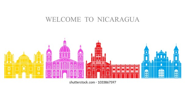 Nicaragua set. Isolated Nicaragua architecture on white background. EPS 10. Vector illustration