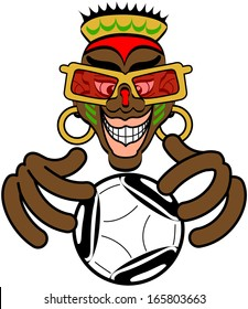 Nice African warlock with painted face, eccentric look and wearing big red glasses, a crown and earrings while smiling and trying to foretell the future of soccer through a ball