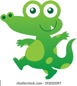 Nice baby crocodile with green skin, pointy ears, bulging eyes, long tail, sharp tooth and mischievous mood while staring at you, walking energetically and smiling sweetly