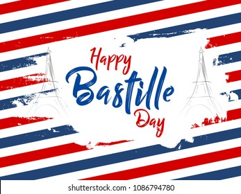 nice and beautiful abstarct or poster for Bastille Day or Viva La France or 14th of July with nice and creative design illustration.