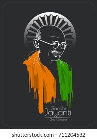 nice and beautiful abstract for Gandhi Jayanti with nice and creative design illustration in background, 2nd October.