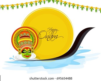 nice and beautiful abstract for Happy Onam with nice and creative design illustration of a Kathakali Face in a background.