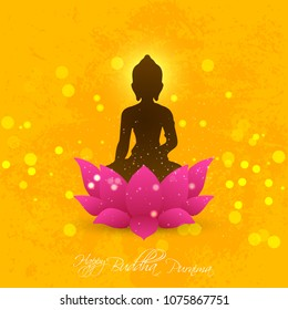 nice and beautiful abstract or poster for Buddha Purnima or Vesak Day or Wesak Day with nice and creative design illustration of Lord Buddha.
