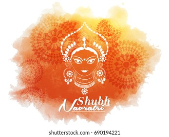 nice and beautiful abstract or poster for Shubh Navaratri with nice and creative design illustration of Maa Durga in a background