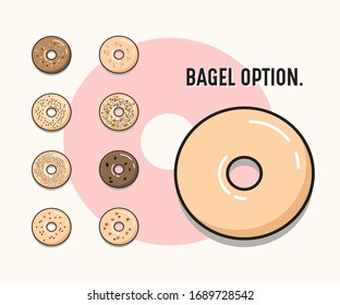Nice and beautiful bagel vector. Different flavours of bagels.
