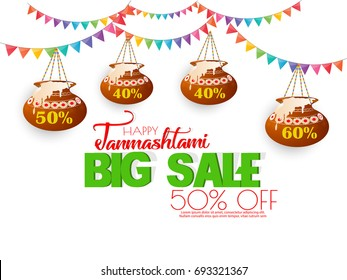 nice and beautiful sale abstract for Janmashtami Festival Big Sale with nice and creative design illustration in a background.