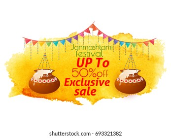 nice and beautiful sale abstract for Janmashtami Festival exclusive sale with nice and creative design illustration in a background.
