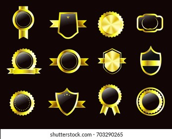 nice and beautiful set of golden batch templates with nice and creative design illustration.