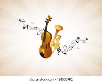 nice and beautiful vector abstract for World Music Day with nice and creative violin and trumpet illustration in a creative background.