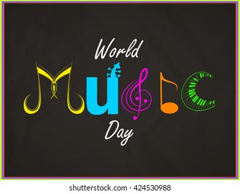 nice and beautiful vector abstract for World Music Day with nice and creative typography in a creative background.