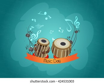 nice and beautiful vector abstract for World Music Day with nice and creative tabla illustration in a creative background.