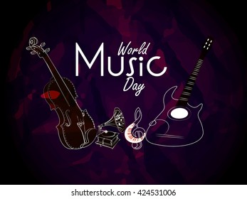 nice and beautiful vector abstract for World Music Day with nice and creative musical instruments illustration in a creative background.