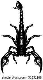 Nice black and white scorpion. Cool for t-shirt prints, tattoos. Hand-drawn. Simple black shape on a white background.