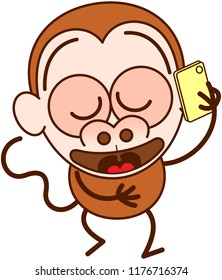 Nice brown monkey in minimalist style with big rounded ears, bulging eyes and long tail while walking and talking placidly on a smartphone