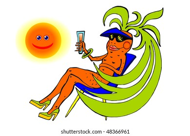 Nice carrots on a beach with a juice glass under the sun on a white background