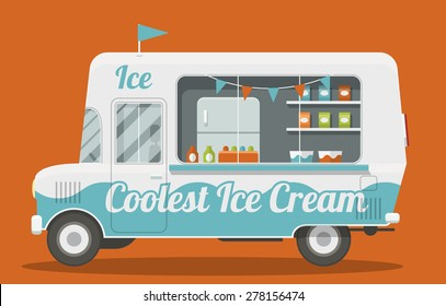 Nice cartoon style illustration of a ice cream van side view. It is Decorated with flags and painted blue and white. Packs of ice cream and a fridge inside. EPS10 vector image.