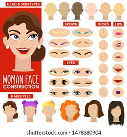 Nice cheerful girl. Woman face constructor. Cartoon vector style. Creation of spare parts. Different hairstyles and hair color, eyes, eyebrows, lips, nose, head shape and skin color.